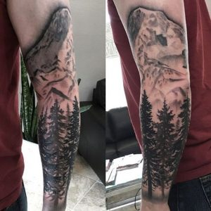 Pine Forest Sleeve Tattoo