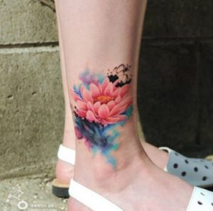 Pink Lotus Watercolor Ankle Tattoo