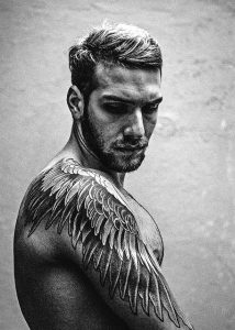 Realistic Wing Placement Shoulder Tattoo