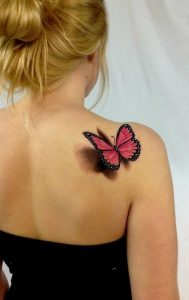 Red Butterfly Back Tattoo