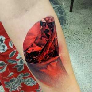 Red Diamond with Reflection Forearm Tattoo