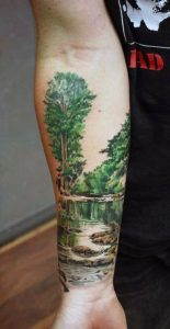 Reflections in the River Forearm Sleeve Tattoo