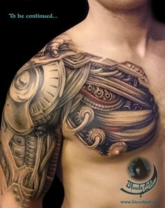 Robotic Shoulder with Tubes Tattoo