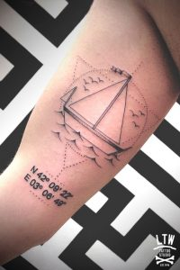 Simplistic Boat with Coordinates Bicep Tattoo
