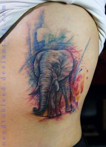 Sketchy Watercolor Background with Realistic Elephant Side Tattoo