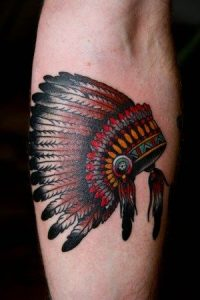 Small Color-Detailed Indian Headdress Forearm Tattoo
