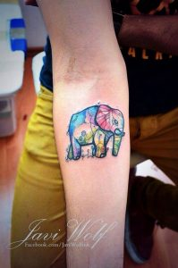 Watercolor Elephand and Her Baby Leg Tattoo