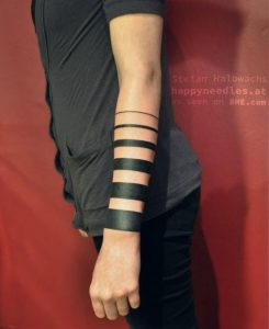 Solid Black Bands Forearm Tattoo