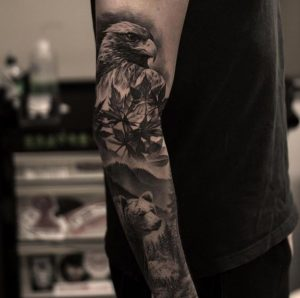 The Eagle and the Bear of the Forest Sleeve Tattoo