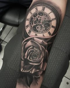 Time and Rose Forearm Tattoo