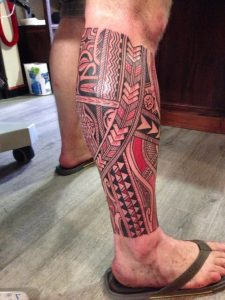 Traditional Polynesian Tribal with Red Pigment Leg Sleeve Tattoo