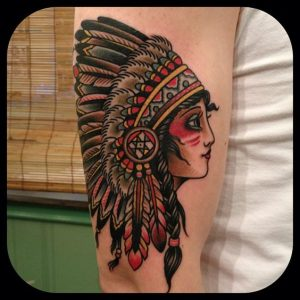 Traditional Woman with Headdress Arm Tattoo