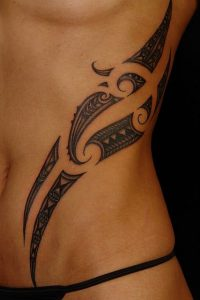 Two Line Patterns Polynesian Side Tattoo