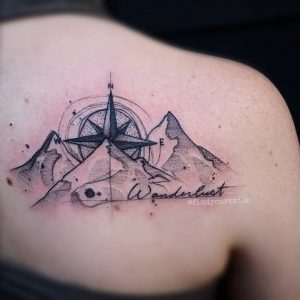 View of Majestic Mountains Upper Back Tattoo