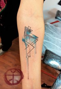 Watercolor Bent Lines Forearm Tattoo