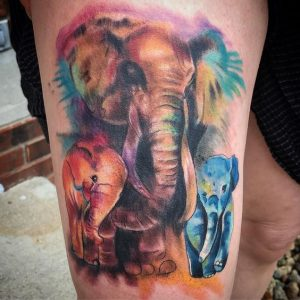 Watercolor Elephant Arm Tattoo with 2 Babies