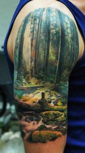 Watercolor Mossy Forest Full Sleeve Tattoo