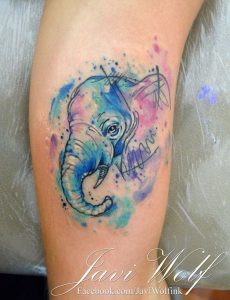 Watercolored Sketchy Blue Elephant Thigh Tattoo