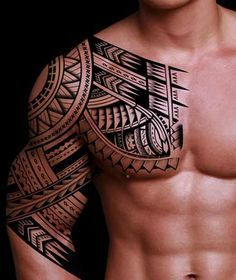 Wicked Polynesian Arm to Chest Tattoo