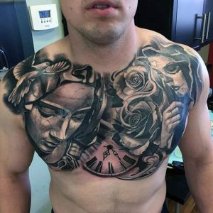 2 Lives of a Lady Chest Tattoo