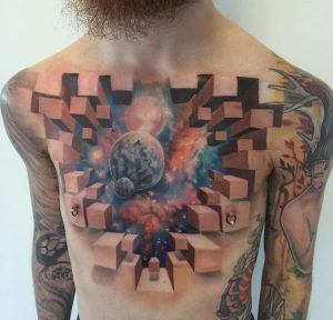 3d Cubes-Teared Universe Frontal Tattoo