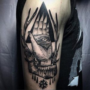 All Seeing Eye With Skull Arm Tattoo