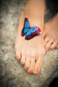 Another Picturesque Butterfly 3D Foot Tattoo