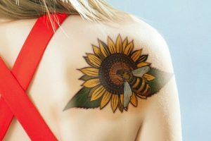 Bee And Sunflower Back Tattoo