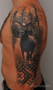 Black Ink Realistic Deer in Forest Arm Sleeve Tattoo