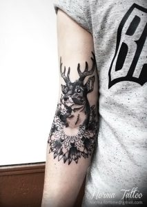 Black and White Deer Over Crystals Arm Tattoo