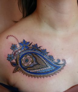 Blue Paisley Chest Tattoo