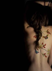 Butterflies On Branches Back Tattoo