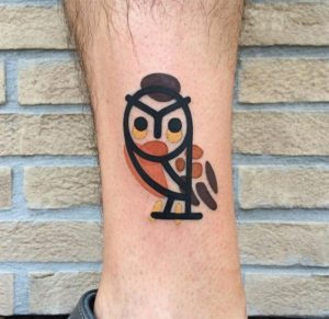 Caricature Owl Ankle Tattoo