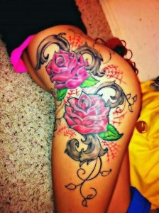 Colorful Illustrated Flowers Thigh Tattoo