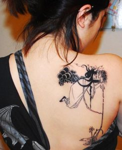 Contemporary Lover Back Tattoo