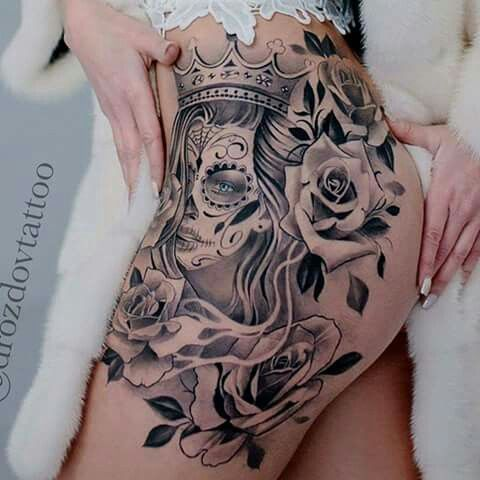 Dead Mexican with Crown Thigh Tattoo