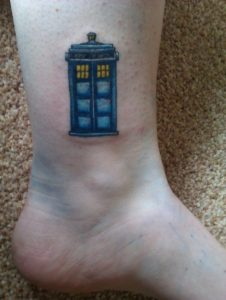 Doctor Who Inspired Phonebooth Ankle Tattoo
