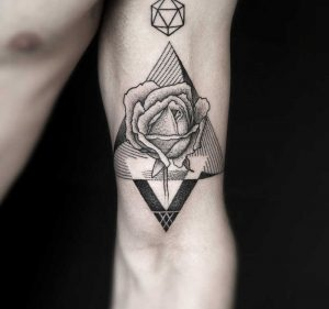 Dots And Shade Framed Rose Arm Tattoo