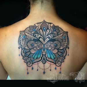 Elegant Lace Butterfly Back Tattoo