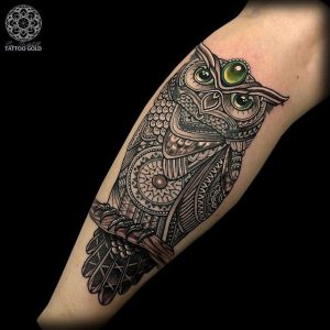 Exquisite Lace Styled Owl Calf Tattoo