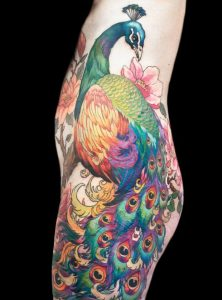 Exquisite Peacock Side Body Tattoo