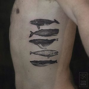 Exquisite Whales Side Body Tattoo