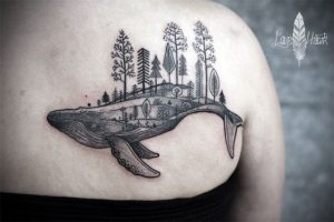 Forest Topped Whale Back Tattoo