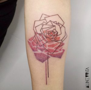 Geometric Rose With Gradient Reflection Forearm Tattoo