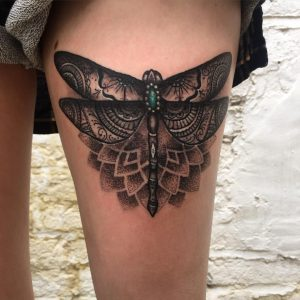 Gorgeous Lace Dragonfly Thigh Tattoo