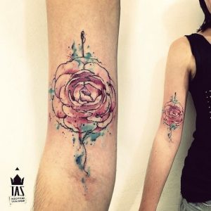Gorgeous Watercolor Rose Forearm Tattoo