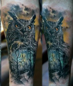 Gray Owl Over Spooky Forest Arm Tattoo
