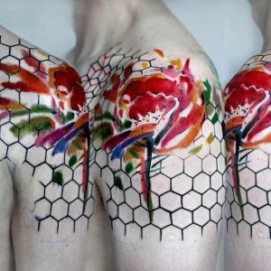 Hexagon and Abstract Flower Arm Tattoo