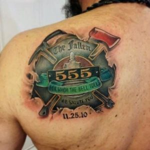 In Honor of Comrades Shoulder Blade Tattoo