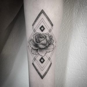 Intricate Black And Gray Rose Forearm Tattoo